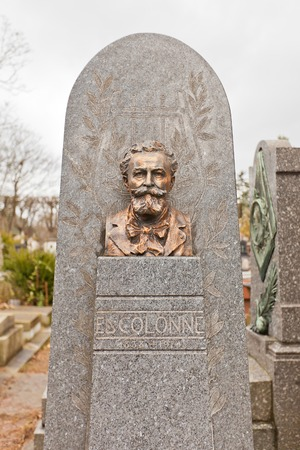 composers: PARIS, FRANCE - FEBRUARY 21, 2015: Grave of Edouard Juda Colonne on Pere Lachaise Cemetery in Paris. Ed Colonne (1838-1910) was a French conductor and violinist, a champion of the music of Berlioz and other composers