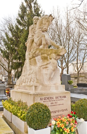 statesman: PARIS, FRANCE - FEBRUARY 21, 2015: Equestrian statue of the tomb of Andranik Ozanian on Pere Lachaise Cemetery in Paris. Andranik (1866-1927) was an Armenian military commander and statesman