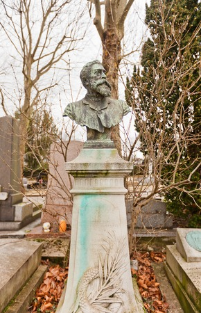 socialist: PARIS, FRANCE - FEBRUARY 21, 2015: Tomb of Paul Brousse on Pere Lachaise Cemetery in Paris. Paul Brousse (1844-1912) was a French socialist, leader of the possibilistes group Editorial