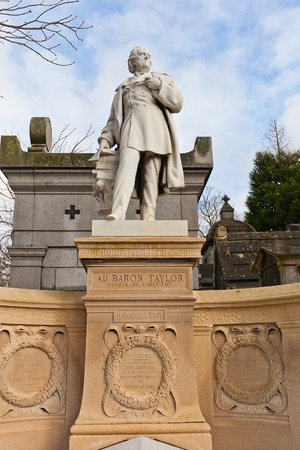 philanthropist: PARIS, FRANCE - FEBRUARY 21, 2015: Tomb of Baron Isidore Justin Severin Taylor  on Pere Lachaise Cemetery in Paris. Baron Taylor (1789-1879) was closely associated with the development of French theatre, a noted traveler and author, and a philanthropist Editorial