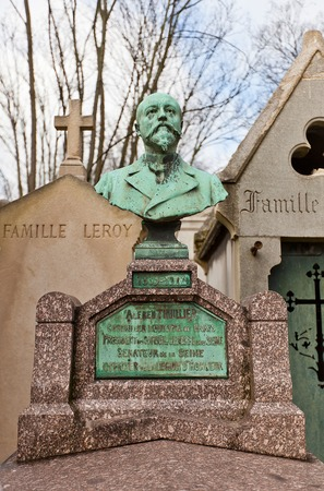 counsel: PARIS, FRANCE - FEBRUARY 21, 2015: Tomb of Alfred Thuillier on Pere Lachaise Cemetery in Paris. Alfred Thuillier (1839-1912) was French politician, senator and counsel