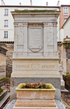 philanthropist: PARIS, FRANCE - FEBRUARY 21, 2015: Tomb of David Singer on Pere Lachaise Cemetery in Paris. David Singer (1778-1846) was a French industrialist and philanthropist