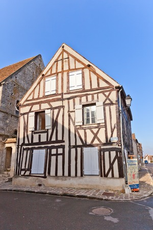 fachwerk: PROVINS, FRANCE - FEBRUARY 22, 2015: Medieval half-timbered (Fachwerk style) house in Provins town, France. UNESCO World Heritage Site Editorial