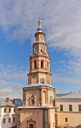 clocktower: Bell tower of Saints Peter and Paul Cathedral (circa 1726, Naryshkin Baroque style) in Kazan city, Republic of Tatarstan, Russia. National monument of Russia Stock Photo