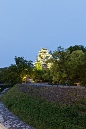 nicknamed: Night view of Okayama castle nicknamed Crow Castle in Okayama prefecture. National Historic Site of Japan