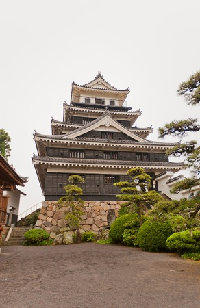 besiege: Nakatsu Castle on Kyushu island Japan . Erected in 1588 reconstructed in 1964 one of the three great Water Castles of Japan