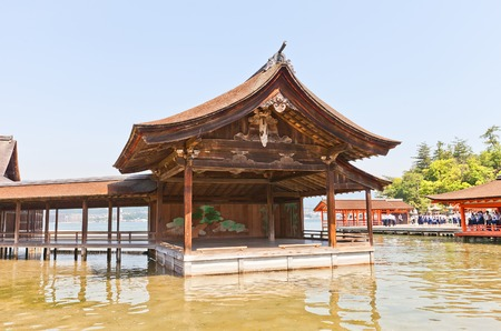 ITSUKUSHIMA JAPAN  MAY 20 2015:  Noh theatre stage circa 1680 of Itsukushima Shinto Shrine Miyajima Island Japan. National Important Cultural Property and World Heritage site of UNESCO