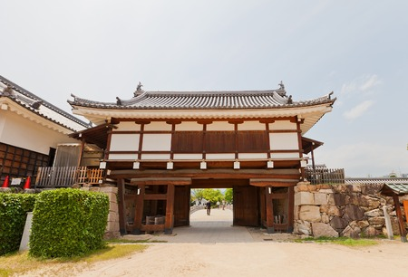 invade: Ninomaru Omote gate of Hiroshima Castle nickname Carp Castle in Hiroshima Japan. National historic site erected in 1591 destroyed by atomic bomb in 1945 reconstructed in 1958 Editorial