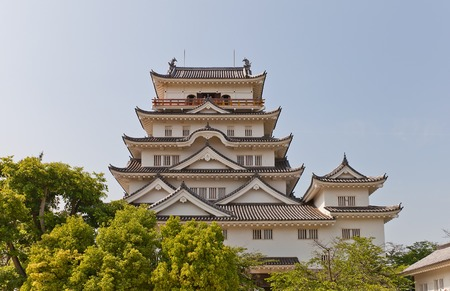 besiege: Main keep donjon of Fukuyama Castle in Fukuyama Japan. National Historic Site erected in 1622 reconstructed in 1966