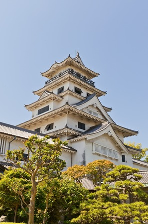 besiege: Main keep donjon of Imabari Castle in Imabari Shikoku Island Japan. Stronghold of Todo Takatora erected in 1604 reconstructed in 1980