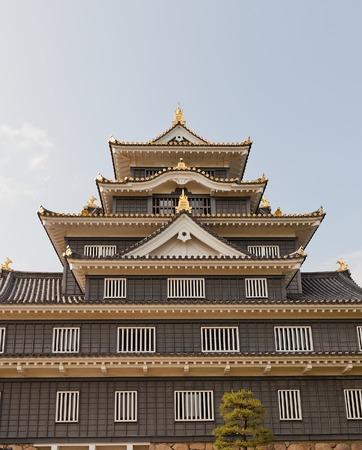 donjon: Fragment of main keep donjon of Okayama Castle erected in 1597 reconstructed in 1966 in Okayama Japan. National Historic site