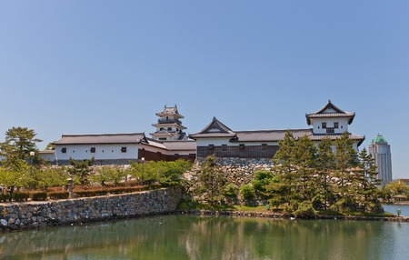 besiege: Imabari Castle Shikoku Island Japan. Stronghold of Todo Takatora erected in 1604 reconstructed in 1980