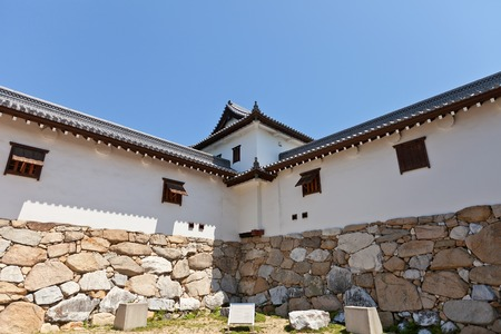 besiege: Bugu Yagura corner turret of Imabari Castle Shikoku Island Japan. Stronghold of Todo Takatora erected in 1604 reconstructed in 1980