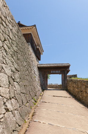 besiege: Tonashimon Doorless Gate circa 1800 of Iyo Matsuyama castle Shikoku Island Japan. Important Cultural Property