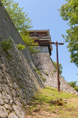 besiege: Corner Turret of Iyo Matsuyama castle circa 1603 Shikoku Island Japan. National Historic Site
