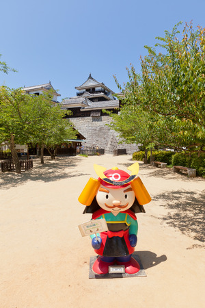 besiege: MATSUYAMA JAPAN  MAY 21 2015: Yoshiakikun the mascot of Iyo Matsuyama castle Shikoku Island Japan. Named after Kato Yoshiaki the founder of the castle