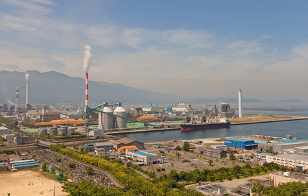 paper factory: SHIKOKUCHUO, JAPAN - MAY 22, 2015: View of Paper Factory (circa 1954) of Marusumi Paper Company in Shikokuchuo city, Shikoku Island, Japan. Shikokuchuo is the leading producer of paper and paper products in Japan
