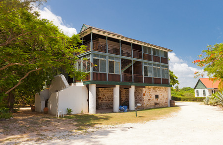 the existing: GRAND CAYMAN - JUNE 28, 2015: Pedro St. James Castle, reconstruction of original 1780 house of plantation owner William Eden. The oldest existing building in the Cayman Islands British Overseas Territory