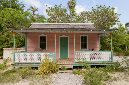 overseas: GRAND CAYMAN - JUNE 28, 2015: Rankine house in Queen Elizabeth II Botanic Park of Grand Cayman, Cayman Islands (British Overseas Territory). Restored early 20th-century Caymanian home