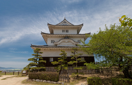 donjon: MARUGAME, JAPAN - MAY 22, 2015: Main keep (donjon, circa 1641) of Marugame castle, Shikoku Island, Japan. One of only twelve survived original castles in Japan, Important Cultural Property