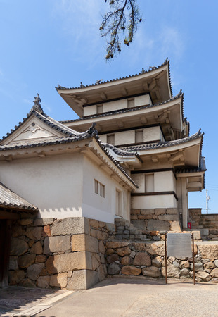 besiege: TAKAMATSU, JAPAN - MAY 22, 2015: Inner view of Kitanomaru Tsukimi Yagura Turret (circa 1676) of Takamatsu castle, Shikoku Island, Japan. Important Cultural Property