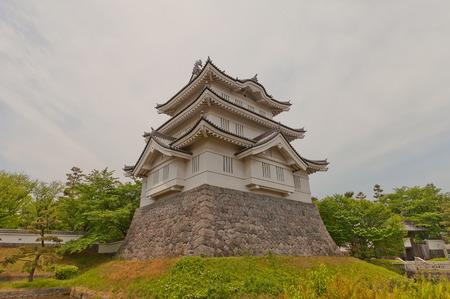 donjon: GYODA, JAPAN - MAY 24, 2015: Main keep (donjon) of Oshi castle in Gyoda town, Saitama Prefecture, Japan. Built in 1478 by Narita Akiyasu, reconstructed in 1988
