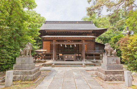 shinto: GYODA, JAPAN - MAY 24, 2015: Shinobusuwa (Toshogu) Shinto Shrine in Gyoda town, Saitama Prefecture, Japan. Founded in XII c.