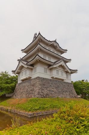 donjon: GYODA, JAPAN - MAY 24, 2015: Main keep donjon of Oshi castle in Gyoda town, Saitama Prefecture, Japan. Built in 1478 by Narita Akiyasu, reconstructed in 1988