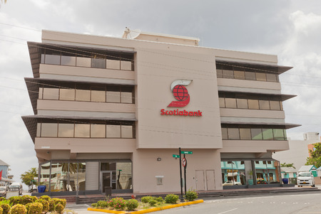 capitalization: GEORGE TOWN, CAYMAN ISLANDS - JULY 05, 2015: Office of Scotiabank in George Town of Grand Cayman, Cayman Islands British Overseas Territory. Scotiabank is the third largest bank in Canada by deposits and market capitalization