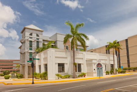 cayman: GEORGE TOWN, CAYMAN ISLANDS - JULY 05, 2015: Public Library in George Town of Grand Cayman, Cayman Islands British Overseas Territory. Design of Captain Rayal Bodden, 1939