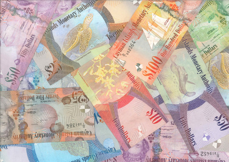 overseas: Cayman Islands (British Overseas Territory) currency (Cayman dollars) background Stock Photo