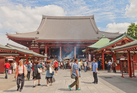 hondo: TOKYO, JAPAN - MAY 25, 2015: Hondo Main hall of Senso-ji Temple in Tokyo, Japan. The oldest temple in Tokyo, was founded in 645 Editorial