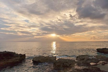 caribbean island: Summer sunset on the seashore of Grand Cayman Island, Cayman Islands, British Overseas Territory