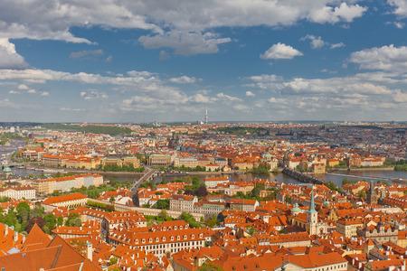 unesco in czech republic: PRAGUE, CZECH REPUBLIC - MAY 07, 2015: Aerial view of old city center of Prague. World Heritage Site of UNESCO