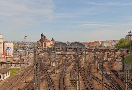 praha: PRAGUE, CZECH REPUBLIC - MAY 07, 2015: View of railway lines of Main Railway Station of Prague (Praha Hlavni Nadrazi, circa 1871)