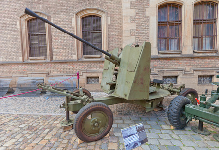 czechoslovak: PRAGUE, CZECH REPUBLIC - MAY 07, 2015: Soviet 37 mm automatic air defense gun M1939 (61-K) at St. George Square in Prague. Used by Czechoslovak Army during WWII