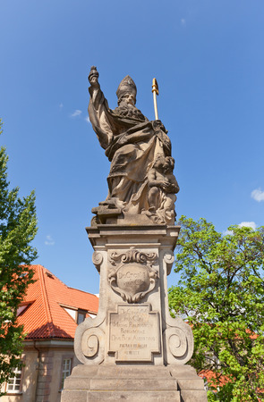 augustine: Statue of St. Augustine circa 1708 on the balustrade of famous Charles Bridge in Prague  . Sculptor Jan Bedrich Kohl Editorial