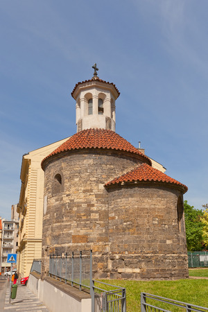 ecclesiastical: PRAGUE, CZECH REPUBLIC - MAY 11, 2015: Rotunda of Saint Longin (circa XII c.) in New Town of Prague (UNESCO site). One of the few preserved Romanesque rotundas in Prague Editorial