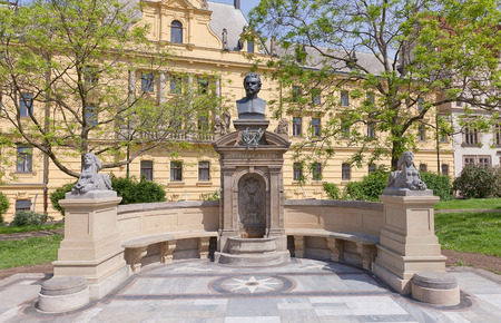 critic: PRAGUE, CZECH REPUBLIC - MAY 11, 2015: Monument to Vitezslav Halek in Prague.  Halek (1835-1874) was a Czech poet, writer, journalist, dramatist, theatre critic and representative of the May school