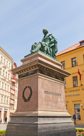 national poet: PRAGUE, CZECH REPUBLIC - MAY 11, 2015: Monument to Josef Jungmann in Prague. Jungmann (1773-1847) was a Bohemian poet and linguist, and a leading figure of the Czech National Revival Editorial