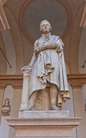 historian: MILAN, ITALY - APRIL 11, 2015: Statue of Petro Verri in the yard of Brera Art Gallery (Pinacoteca di Brera) in Milan, Italy. Petro Verri (1728-1797) was an Italian philosopher, economist, historian and writer