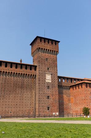 sforza: MILAN, ITALY - APRIL 11, 2015: Tower of Bona of Savoy (circa 1476) of Sforza Castle (Castello Sforzesco, circa XV c.) in Milan, Italy.  View from inner yard