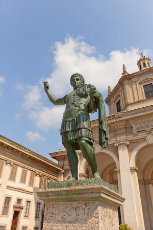 ecclesiastical: MILAN, ITALY - APRIL 11, 2015: Statue of Emperor Constantine the Great in front of Basilica of San Lorenzo Maggiore in Milan, Italy. Bronze copy (1934) of original monument of late antiquity preserved in Rome in San Giovanni in Laterano Editorial