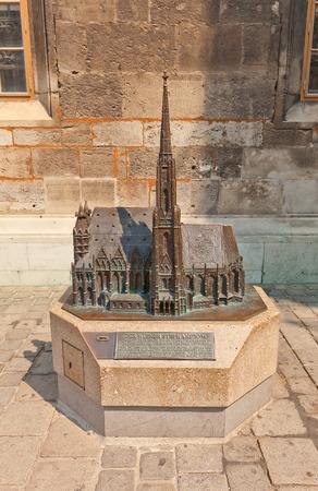 saint stephen cathedral: VIENNA, AUSTRIA - AUGUST 12, 2015: Bronze model of Cathedral of Saint Stephen in Vienna, Austria