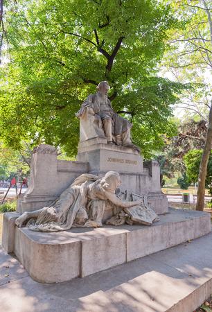 pianist: VIENNA, AUSTRIA - AUGUST 12, 2015:  Monument (circa 1908, sculptor Rudolf Weyr) to Johannes Brahms in Vienna, Austria. Brahms (1833-1897) was famous German composer and pianist