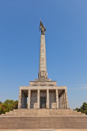 liberating: BRATISLAVA, SLOVAKIA - AUGUST 22, 2015: Slavin war memorial (circa 1960) for Soviet soldiers who fell while liberating Bratislava during WWII. National Cultural Monument of Slovakia. Designer Jan Svetik Editorial