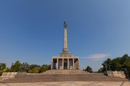 liberating: BRATISLAVA, SLOVAKIA - AUGUST 22, 2015: Slavin war memorial (circa 1960) for Soviet soldiers who fell while liberating Bratislava. National Cultural Monument of Slovakia. Designer Jan Svetik