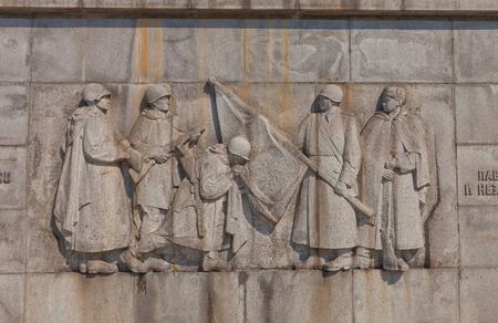 liberating: BRATISLAVA, SLOVAKIA - AUGUST 22, 2015: Bas-relief of Slavin war memorial (circa 1960) for Soviet soldiers who fell while liberating Bratislava. National Cultural Monument of Slovakia. Designer Jan Svetik