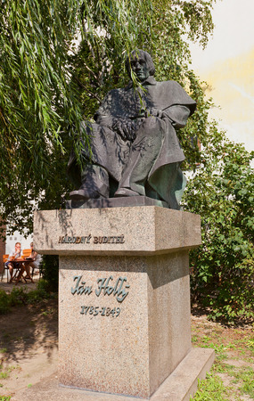 exclusively: BRATISLAVA, SLOVAKIA - AUGUST 24, 2015: Monument to Jan Holly in Bratislava, Slovakia. Holly (1785-1849) was a Slovak poet and translator, the first to write exclusively in the newly standardized literary Slovak language