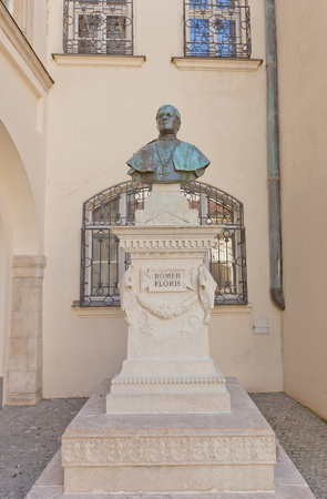 historian: BRATISLAVA, SLOVAKIA - AUGUST 24, 2015: Bust of Romer Floris in the courtyard of Bratislava City Museum. Romer (1815-1889) was a Hungarian archaeologist, historian, and professor at the University of Budapest